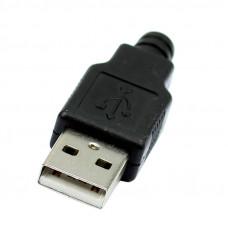 Штекер USB AM, корпус пластик, пайка на кабель