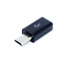 Разъём micro USB удлиненный, штекер 5pin (B), пайка на кабель, корпус пластик черный