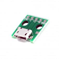 Разъём micro USB, гнездо 5pin (В) с платой, монтажное, USB-MICRO-9