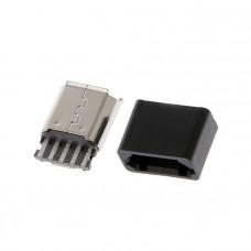 Разъём micro USB, гнездо 5pin (В) с пластиковым корпусом, монтажное, USB-MICRO-10