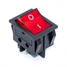 Переключатель клавишный KCD2-2-201N, 16A, 4pin, подсветка 220V