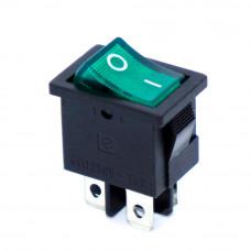 Переключатель малый KCD1-4-201N, 6A, 4pin, подсветка 220V