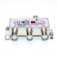 Разветвитель ТВ 3-way, с проходом питания, 1 вход - 3 выхода (5-2500MHz)