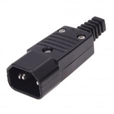 Штекер сетевой C14, 220В, 3 контакты, HQ, на кабель