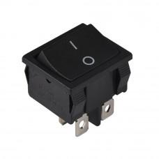 Переключатель средний KCD1-6-201, 6A, 4 контакты, черный
