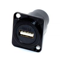 Гнездо USB монтажное, D-тип корпус (гнездо - гнездо) металлический, 2 отверстия