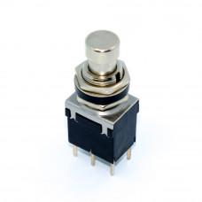Кнопка с фиксацией PBS-24-202P, гитарная, 12мм, 6 контактов, металлическая