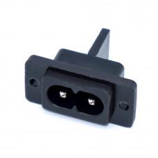 Разъём сетевой 220V, AC-005, монтажный, 2 контакты, 2 отверстия