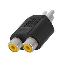 Переходник аудио-видео, штекер RCA - 2 гнезда RCA, корпус пластик