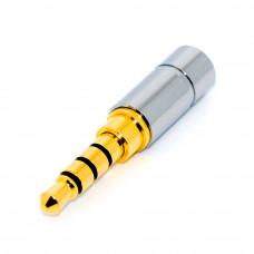 Штекер 3.5мм 4 контакты, Gold, HQ, металлический mini корпус