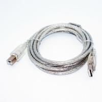 Кабель USB принтерный, штекер AM - штекер BM, прозрачный, феррит, v.2.0