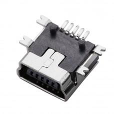 Разъём mini USB, гнездо 5pin, SMD монтажное на плату, USB-MINI-1