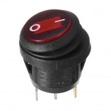 Переключатель клавишный, KCD1-5-101NW круглый 20мм, IP65, подсветка 220V, 6А, 3pin