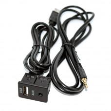 AUX (гнездо 3.5мм стерео) + USB (гнездо AF) в авто, вставка 23x34мм, кабель 1.5м
