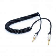 Шнур AUX 3.5мм стерео (штекер - штекер) Gold, витой, 2.0м, черный
