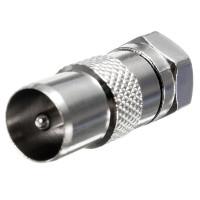 Штекер антенный ТВ - штекер F, корпус металлический, прямой
