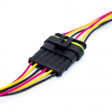 Разъём автомобильный герметичный на 6 контактов, Superseal 1.5, с кабелем, комплект (штекер и гнездо)