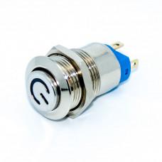 Кнопка антивандальная GQ12, выпуклая 12мм, с фиксацией, LED 12-24V синяя, 4 контакты