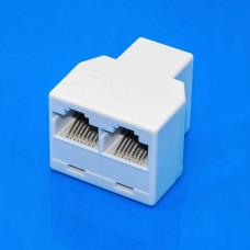 Соединитель компьютерный RJ45 (8р8с), 1 гнездо - 2 гнезда, корпус пластик