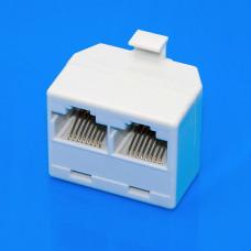 Разветвитель витой пары RJ45 (8р8с), 1 штекер - 2 гнезда, пластик