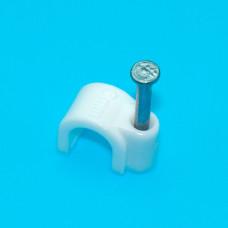 Скоба 6мм для круглого кабеля (50шт), белая