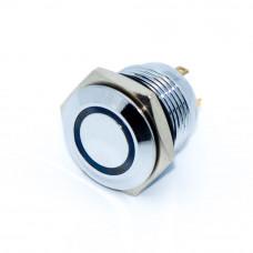 Кнопка антивандальная GQ16F-10E, без фиксации, IP65, LED 3V, 4pin