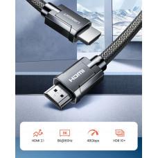 Шнур HDMI (штекер - штекер) 2.1, 8K/60Hz, 4K/120Hz, UGREEN, металл, в сетке, 1.0м