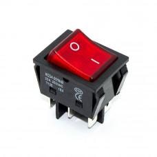 Переключатель широкий KCD4-202N-B, 20A, 6pin, подсветка 220V, красный