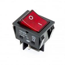 Переключатель клавишный, широкий KCD4-201N-B, 20А, подсветка 220V, 4pin, красный
