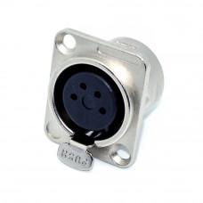 Гнездо XLR 4 контакты, монтажное 2 отверстия, корпус D-type
