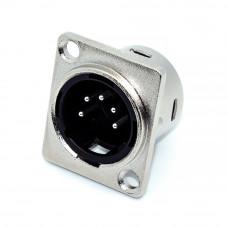 Штекер XLR 5 контактов, монтажное 2 отверстия, корпус D-type
