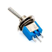 Тумблер mini SMTS-102, 3pin, синий корпус, ON-ON