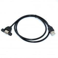 Удлинитель USB, штекер АM - гнездо АF (монтажное), 1.0м, черный, v.2.0
