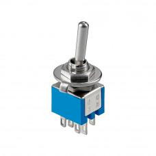 Тумблер mini SMTS-202, 6pin, синий корпус, ON-ON