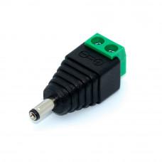 Штекер питания 3.4x1.4мм, кабель под винт, корпус пластик, зеленый