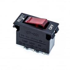 Автоматический выключатель ST-001, 10А, 3pin, красный, подсветка 220V