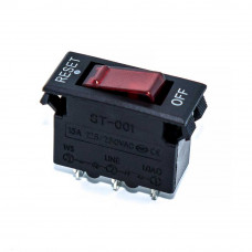 Автоматический выключатель ST-001, 15А, 3pin, красный, подсветка 220V