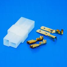 Разъём питания на 2 контакты, комплект  (штекер, гнездо, клеммы) Т - образный
