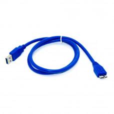 Шнур micro USB, v.3.0, штекер micro B - штекер AM, 0.8м, синий