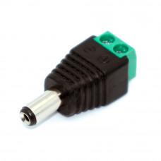 Штекер питания 5.5x2.1мм, кабель под винт, корпус пластик, зеленый
