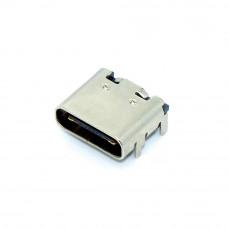 Гнездо TYPE-C 16pin, монтажное SMD на плату, 4 крепления, USB-C-01