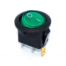 Переключатель клавишный KCD1-8-101N круглый 20мм, подсветка 220V, 3 контакты