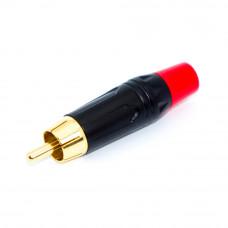 Штекер RCA, Gold, HQ, корпус металлический черный, RCA-3-M