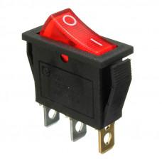 Переключатель клавишный KCD3-101N, узкий 11мм, подсветка 220V, 15А, 3pin