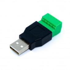 Разъём USB, штекер AM, корпус пластик, c клеммной колодкой (под винт)
