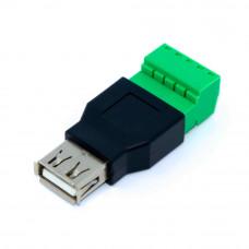 Разъём USB, гнездо AF, корпус пластик, c клеммной колодкой (под винт)