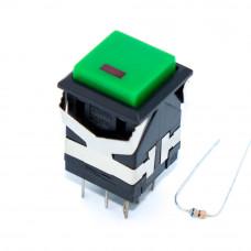 Кнопка квадратная с фиксацией KD2-21, LED 2.4В, 8 контактов