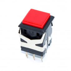 Кнопка квадратная с фиксацией KD2-23, 6 контактов, ON-ON