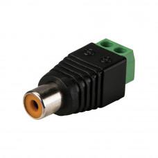 Разъём аудио-видео, гнездо RCA, с клеммной колодкой (зеленая), кабель под винт