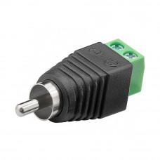 Штекер RCA, с клеммной колодкой (зеленая), кабель под винт